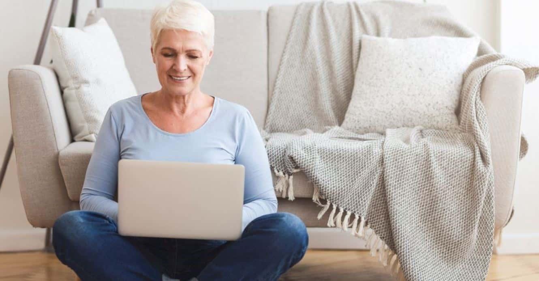 Woman browsing on desktop