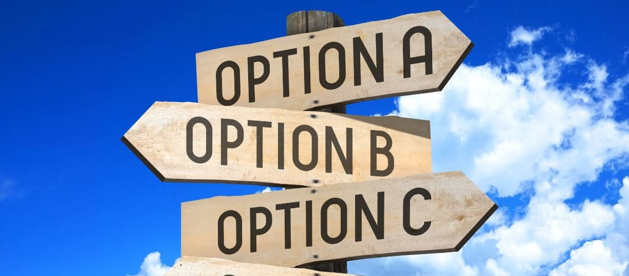 Options sign boad on the street