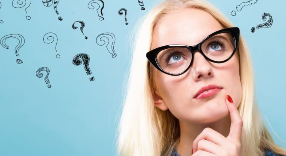 Blond lady has question marks above her head